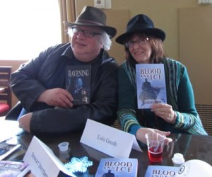 """Stewart Sternberg (""""The Ravening"""") and Lois Gresh (""""Blood and Ice"""") at a recent book signing"""